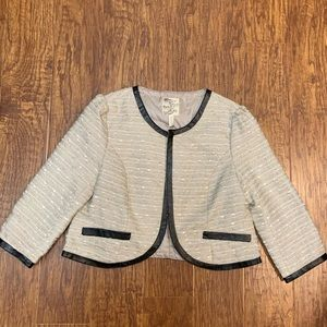 Tulle cropped tweed shimmer jacket blazer small